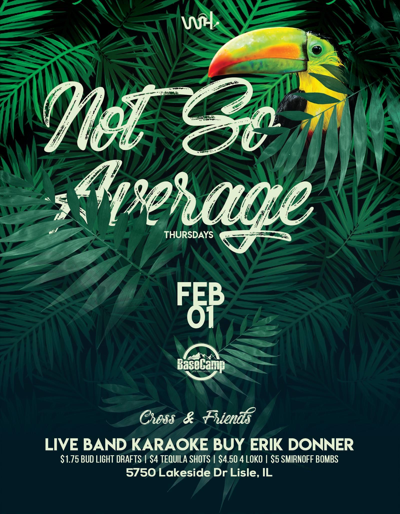 """""""Not So Average"""" Thursdays: Live Band Karaoke w/ Erik Donner"""